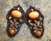 Autumn Orange Brown Chandelier Fiber Tatting Dangle Beaded Earrings
