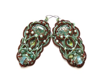 Orchid Aqua Dark Mocha Fiber Beaded Tatting Chandelier Style Earrings