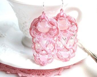 Pink Rose Quartz Chandelier Dangle Beaded Fiber Tatting Earrings