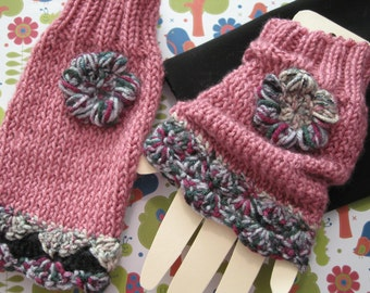 Wrist warmers Rosy Mauve multi cuffs, boot cuffs, wristies knit with crochet trim/flower  christmas gift, birthday cold weather accessory