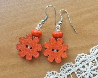 Orange Flower Wooden Button Earrings, Upcycled Earrings