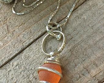 Genuine SEA GLASS Necklace ORANGE Argentium Sterling Silver Jewelry