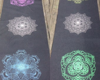 Sacred Geometry Mandala Chakra Yoga Mat - Hand Drawn Mandalas - Hand Printed by Ansel Cummings