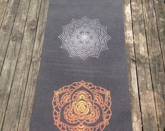 Flame - Sacred Geometry Mandala Yoga Mat -  Chakras - Hand drawn mandalas - Hand printed by Ansel Cummings