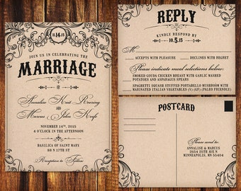 Vintage Wedding Invitation and RSVP Card - Printable or Print Options - Kraft Black Typography