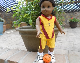 Basketball uniform yellow maroon doll clothes fits 18 in like American Girl and similar