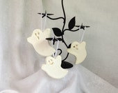 Vintage Inspired Ghost Ornaments, Handmade Non Edible Sugar Fun Ghost Decorations, Set of 3