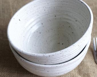 Set of 2 large stacking dinner bowls, rustic, stoneware, wheel thrown