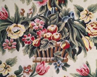 1987 Designer Cotton Upholstery Fabric Screen Printed in Lauer Paris of Baskets of Flowers , Upholstery Yardage