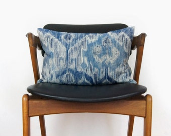 Blue Ikat Pattern | Navy, Denim Blue and Beige Decorative Throw Pillow Case, Cushion Cover | 12x18 lumbar accent | Modern Home Decor