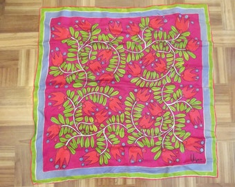 vintage VERA Silk Scarf - Bright Spring Colors - Red Tulips