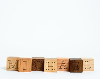 7 Personalized Name Wooden Blocks // Gift with these Natural, Eco Friendly Wood Block Toys for Baby Boy or Girl