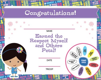 Daisy Girl Scouts Petal Certificates - Printable Instant Download