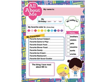 Daisy Girl Scout Activity - All About Me - Printable Instant Download