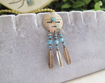 Zuni Sun Face Sterling Silver Stick Pin deocrated with Turquoise and feather