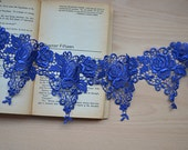 Exquisite Blue Venice Lace Retro Rose Embroidered Lace 4.13 Inches Wide 1 Yard