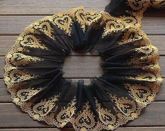 2 Yards Lace Trim Floral Heart Embroidered Black Tulle Lace 6.29 Inches Wide High Quality