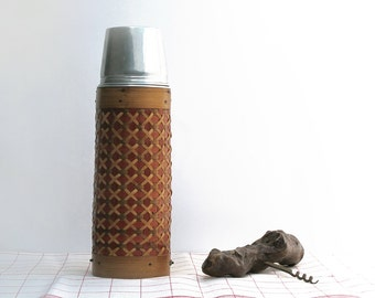 vintage french wicker water reserves  and cup , wicker bottle , wine wicker bottle
