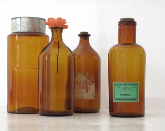 1 large vintage bottle of French pharmacy - amber apothecary jar- with antique label- formol