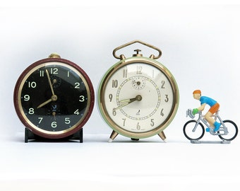 set of 2 French vintage alarm clocks collection, Jaz , light green, pale green and carmin red
