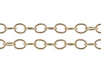 14Kt Gold Filled 5x3.5mm Patterned Flat Cable Chain - 5ft (2476-5)/1