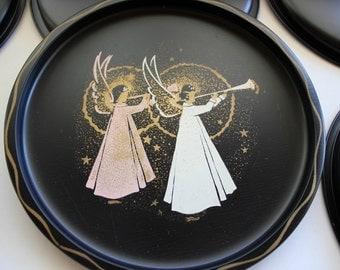Angel Plate, Metal Plate, Nashco, Set of 8, Christmas, Angels, Plate, Tray
