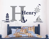 Nautical wall graphic - Personalized nautical name decal - Baby nursery wall decal-  Sailor vinyl wall decal - Nautical nursery decal