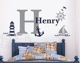 Nautical Wall Graphic   Personalized Nautical Name Decal   Baby Nursery Wall  Decal  Sailor Vinyl
