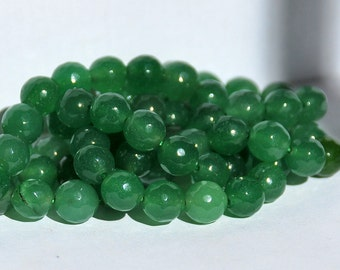 Half Strand 8mm Faceted Green Jade Gemstone Beads - 23 beads