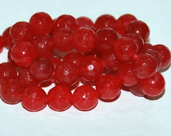 Half Strand 8mm Faceted Red Jade Gemstone Beads - 22 beads