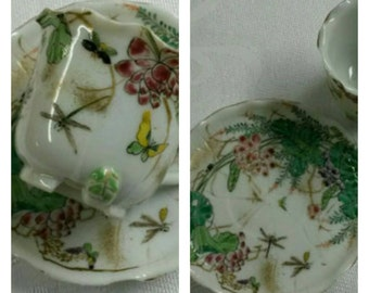 Figural Japanese Kutani Demi Cup & Saucer circa 1890-1910    #DSC