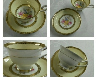 Partially Enameled Royal Albert Crown China cup & saucer circa 1920's or 1930's-  832