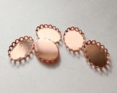 20pcs Rose Gold Lace Edge Oval  13x18mm Cameo Settings