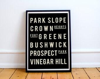 Brooklyn, Art, New York Poster, Typography Print, Modern Home Office Decor, Neighborhood Map Print, Art Poster, Living Room Decor, NYC, Art