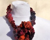 Felted necklace, fibre art, gift, brown, orange, red, blue, felted slices