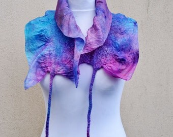 Felted scarf, silk, wool, nuno, felted, gift, fibre art, turquoise, pink, purple