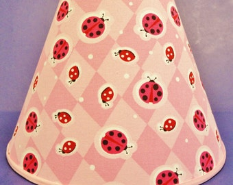 Ladybugs on Pink Lamp Shade