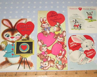 Vintage Valentine Lot of 4 Cards Bunny Rabbit Bunnies (S)
