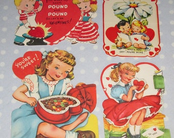 Vintage Valentine Lot of 4 Cards Girl Candy Flowers Flocked Gibson (HH)