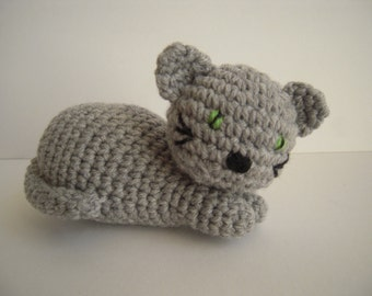 Crocheted Handmade Stuffed Amigurumi Cat/Kitten Grey