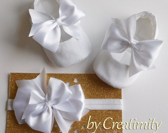 Baby Girl Baptism Shoes and Headband White or Ivory Baby Shoes Christening Shoes Bow Shoes Baby Wedding Shoes Flower Girl Shoes