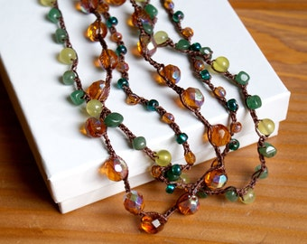 Madeira Bohemian crochet multi strand necklace, boho chic jewelry, topaz, green, emerald, brown, Aventurine, Jade, OOAK