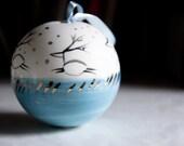 porcelain christmas ornament, unique christmas bauble, white blue gold reindeer ornament, handmade christmas tree decoration, hostess gift