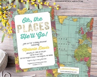 oh the places you will go invitation map baby shower birthday baptism graduation world travel bash (item 1294) shabby chic around the world