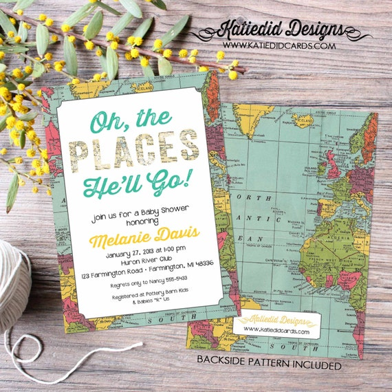 oh the places baby shower | World map | rustic shower invitations gender neutral | Travel themed | diaper wipe brunch | 1294 Katiedid Cards