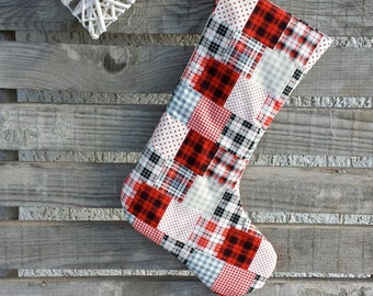 Patchwork stocking, plaid stocking, tartan stocking, traditional, red, white, christmas