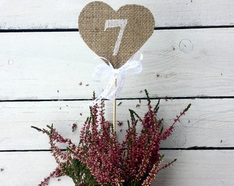 Burlap heart table numbers