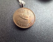 British Coin Necklace with Bird Design, Bird Jewelry, 1952 Birthday Gift, British Farthing Coin, Copper Penny Pendant