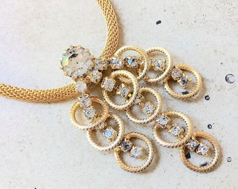50's Vintage Gold Mesh Rhinestone Necklace