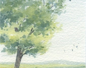 Original Watercolor Painting ACEO - Gone with the chilling wind